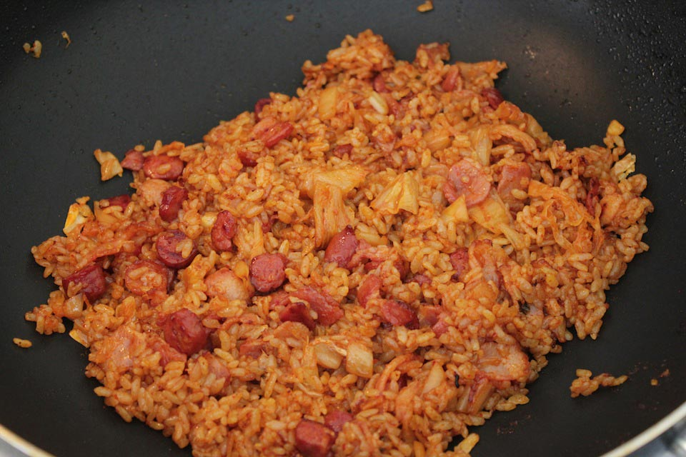 At this point the kimchi fried rice is done, but I like to add crushed ...